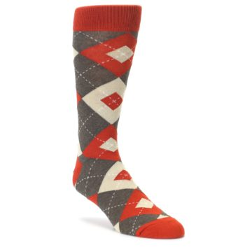 Rust Heathered Brown Argyle Men's Dress Socks