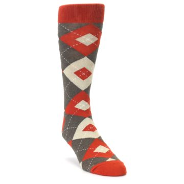 Image of Rust Heathered Brown Argyle Men's Dress Socks (side-1-front-02)