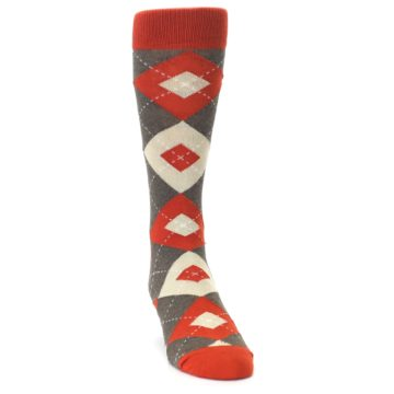 Image of Rust Heathered Brown Argyle Men's Dress Socks (side-1-front-03)