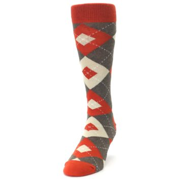 Image of Rust Heathered Brown Argyle Men's Dress Socks (side-2-front-06)