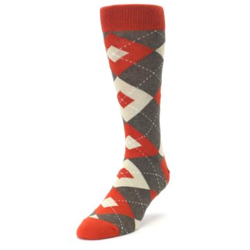 Image of Rust Heathered Brown Argyle Men's Dress Socks (side-2-front-07)