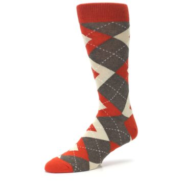 Image of Rust Heathered Brown Argyle Men's Dress Socks (side-2-09)