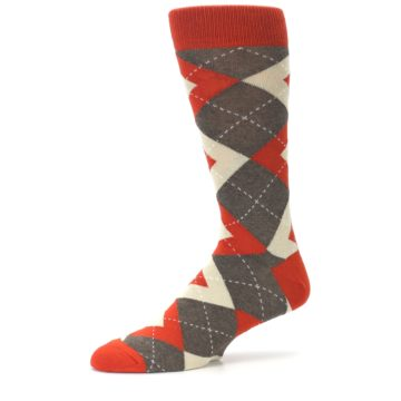 Image of Rust Heathered Brown Argyle Men's Dress Socks (side-2-10)