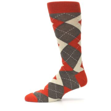 Image of Rust Heathered Brown Argyle Men's Dress Socks (side-2-11)