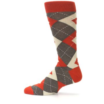 Image of Rust Heathered Brown Argyle Men's Dress Socks (side-2-12)