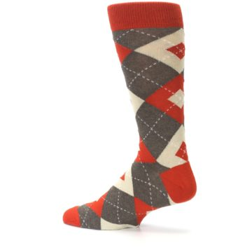 Image of Rust Heathered Brown Argyle Men's Dress Socks (side-2-13)