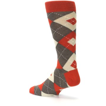 Image of Rust Heathered Brown Argyle Men's Dress Socks (side-2-back-14)