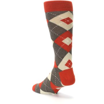 Image of Rust Heathered Brown Argyle Men's Dress Socks (side-2-back-15)