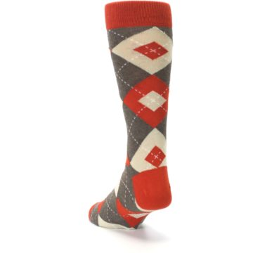 Image of Rust Heathered Brown Argyle Men's Dress Socks (side-2-back-16)