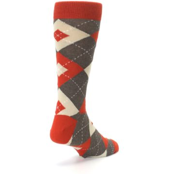 Image of Rust Heathered Brown Argyle Men's Dress Socks (side-1-back-21)