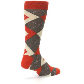 Image of Rust Heathered Brown Argyle Men's Dress Socks (side-1-back-22)