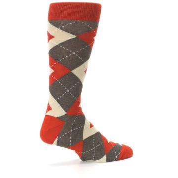 Image of Rust Heathered Brown Argyle Men's Dress Socks (side-1-23)