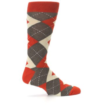 Image of Rust Heathered Brown Argyle Men's Dress Socks (side-1-24)