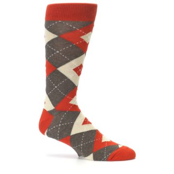 Image of Rust Heathered Brown Argyle Men's Dress Socks (side-1-25)