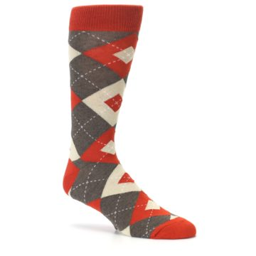 Image of Rust Heathered Brown Argyle Men's Dress Socks (side-1-26)