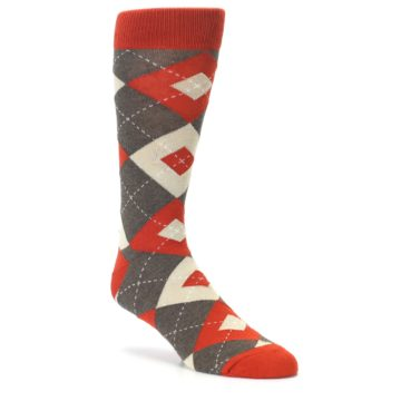 Image of Rust Heathered Brown Argyle Men's Dress Socks (side-1-27)