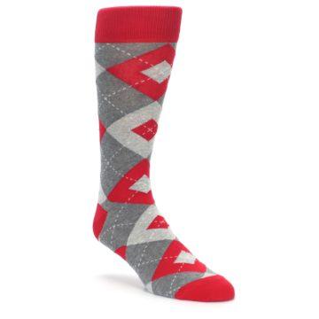 Image of Valentina Red Gray Argyle Men's Dress Socks (side-1-front-01)