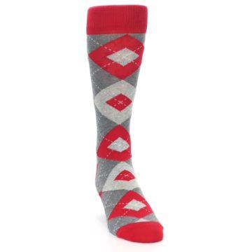 Image of Valentina Red Gray Argyle Men's Dress Socks (side-1-front-03)
