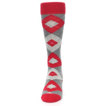 Image of Valentina Red Gray Argyle Men's Dress Socks (front-05)