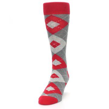 Image of Valentina Red Gray Argyle Men's Dress Socks (side-2-front-06)