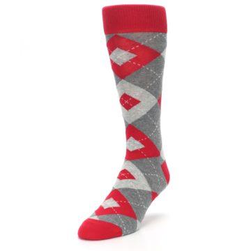 Image of Valentina Red Gray Argyle Men's Dress Socks (side-2-front-07)