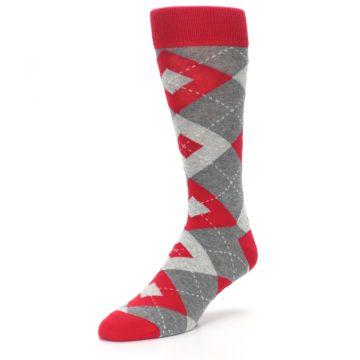 Image of Valentina Red Gray Argyle Men's Dress Socks (side-2-front-08)