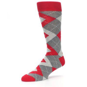 Image of Valentina Red Gray Argyle Men's Dress Socks (side-2-09)