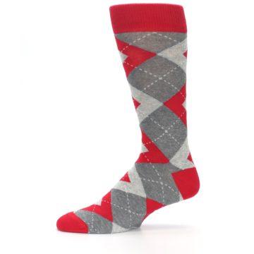 Image of Valentina Red Gray Argyle Men's Dress Socks (side-2-11)