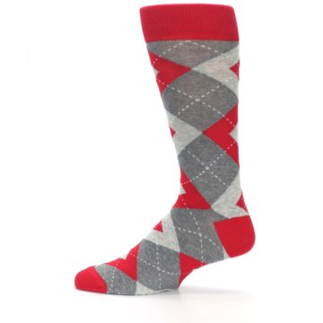 Image of Valentina Red Gray Argyle Men's Dress Socks (side-2-12)