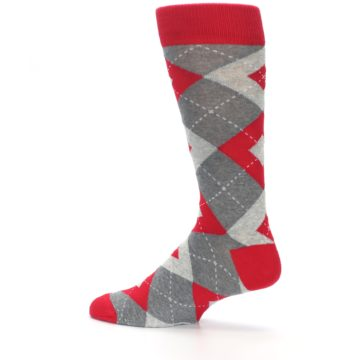 Image of Valentina Red Gray Argyle Men's Dress Socks (side-2-13)
