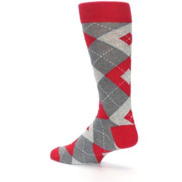 Image of Valentina Red Gray Argyle Men's Dress Socks (side-2-back-14)