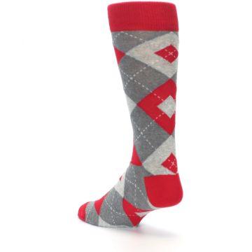 Image of Valentina Red Gray Argyle Men's Dress Socks (side-2-back-15)