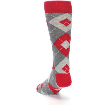 Image of Valentina Red Gray Argyle Men's Dress Socks (side-2-back-16)