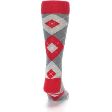 Image of Valentina Red Gray Argyle Men's Dress Socks (back-19)