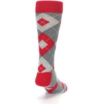 Image of Valentina Red Gray Argyle Men's Dress Socks (side-1-back-20)