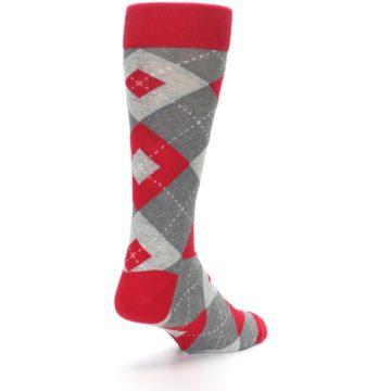 Image of Valentina Red Gray Argyle Men's Dress Socks (side-1-back-21)
