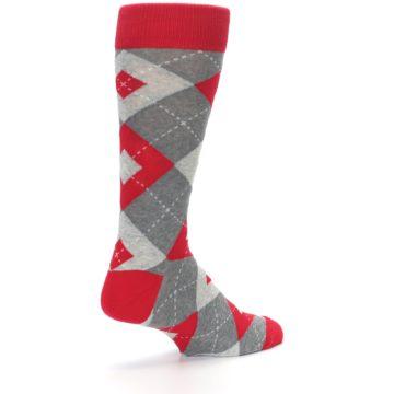 Image of Valentina Red Gray Argyle Men's Dress Socks (side-1-back-22)