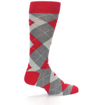 Image of Valentina Red Gray Argyle Men's Dress Socks (side-1-23)
