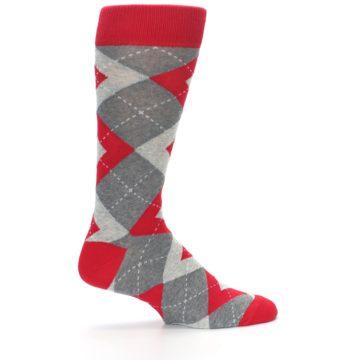 Image of Valentina Red Gray Argyle Men's Dress Socks (side-1-24)