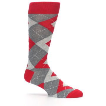 Image of Valentina Red Gray Argyle Men's Dress Socks (side-1-25)