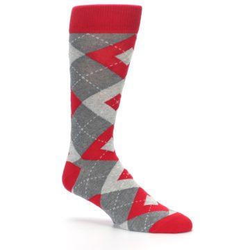 Image of Valentina Red Gray Argyle Men's Dress Socks (side-1-26)