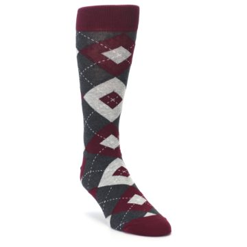 Image of Wine Burgundy Grey Argyle Men's Dress Socks (side-1-front-02)