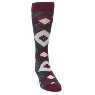 Image of Wine Burgundy Grey Argyle Men's Dress Socks (side-1-front-03)