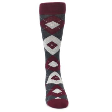Image of Wine Burgundy Grey Argyle Men's Dress Socks (front-04)