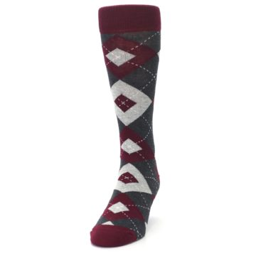 Image of Wine Burgundy Grey Argyle Men's Dress Socks (side-2-front-06)