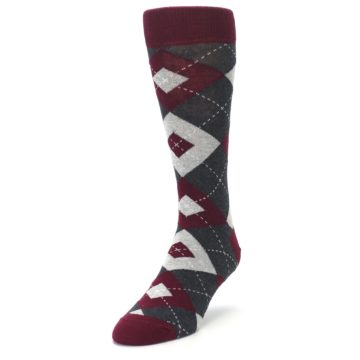 Image of Wine Burgundy Grey Argyle Men's Dress Socks (side-2-front-07)