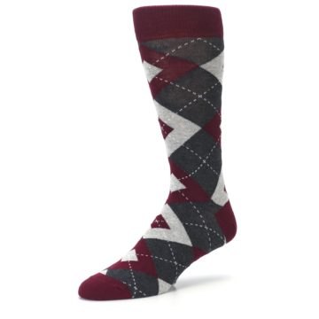 Image of Wine Burgundy Grey Argyle Men's Dress Socks (side-2-09)