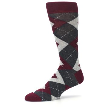 Image of Wine Burgundy Grey Argyle Men's Dress Socks (side-2-10)