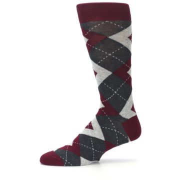 Image of Wine Burgundy Grey Argyle Men's Dress Socks (side-2-11)