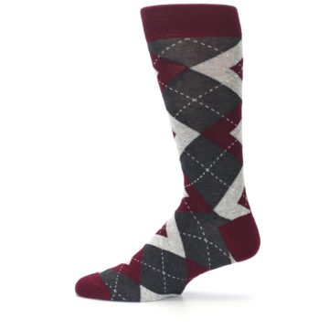 Image of Wine Burgundy Grey Argyle Men's Dress Socks (side-2-12)